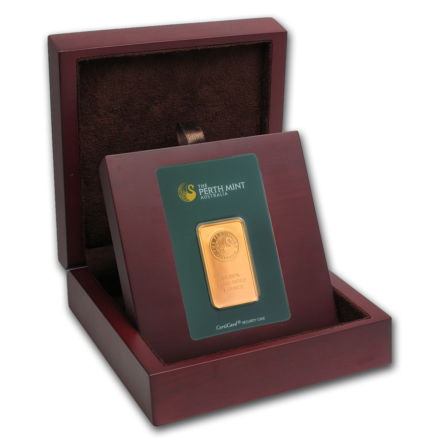 APMEX Wood Gift Box - Perth Mint Gold Bar (w/Assay)