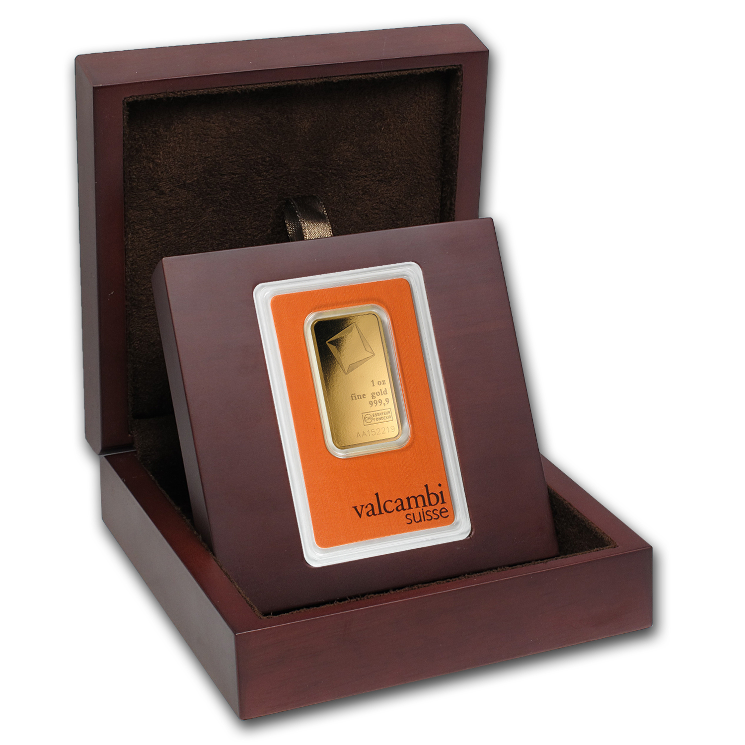 APMEX Wood Gift Box - Valcambi Gold Bar (w/Assay)