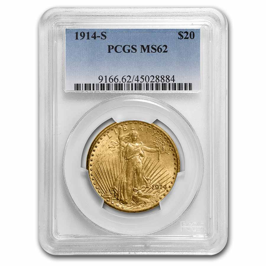 1914-S $20 St. Gaudens Gold Double Eagle MS-62 PCGS