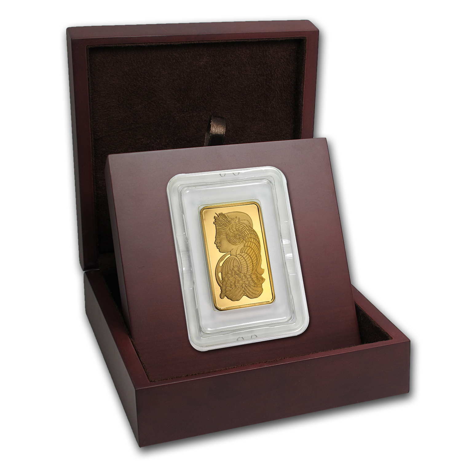 APMEX Wood Gift Box - 5 oz PAMP Suisse Gold Bar (w/Assay)