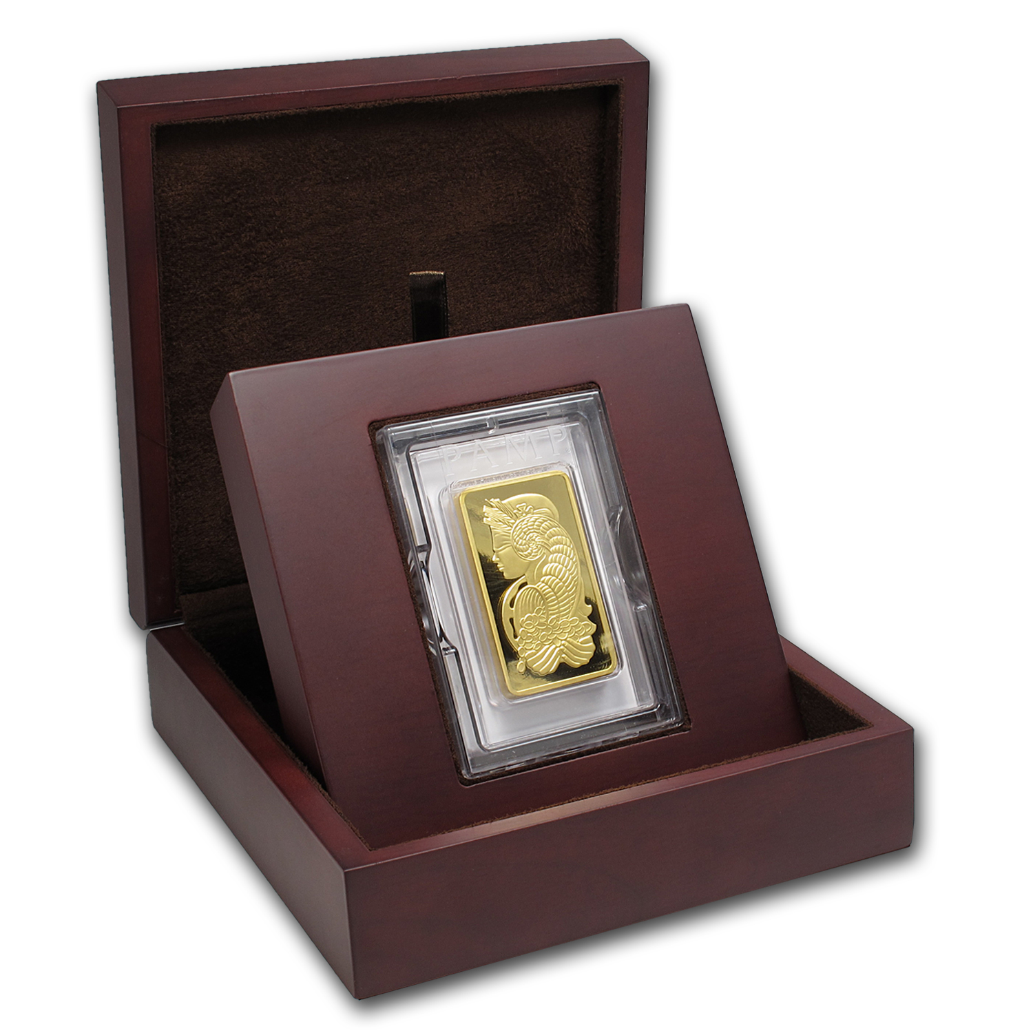 APMEX Wood Gift Box - 10 oz PAMP Suisse Gold Bar (w/Assay)