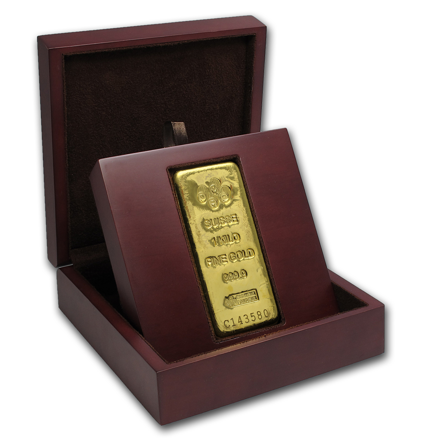 APMEX Wood Gift Box - 1 kilo PAMP Suisse Gold Bar (Cast)