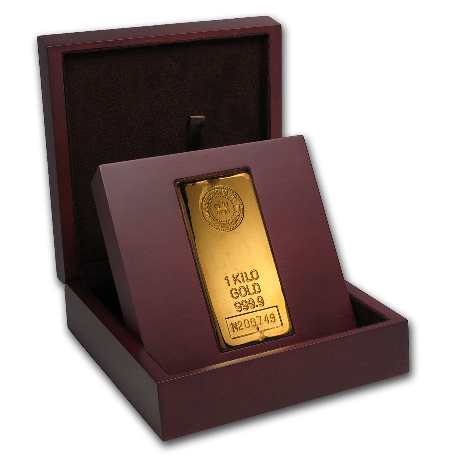 APMEX Wood Gift Box - 1 kilo RCM Gold Bar (Cast)