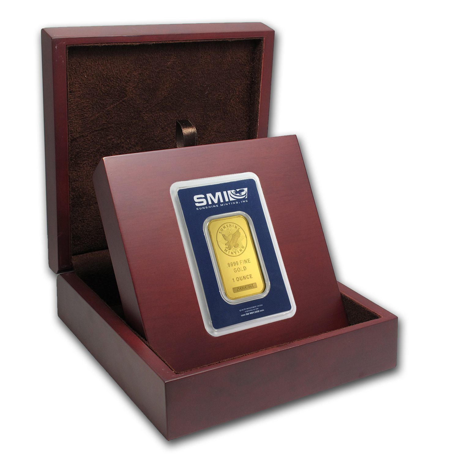 APMEX Wood Gift Box - SMI Gold Bar Standard (w/Assay)