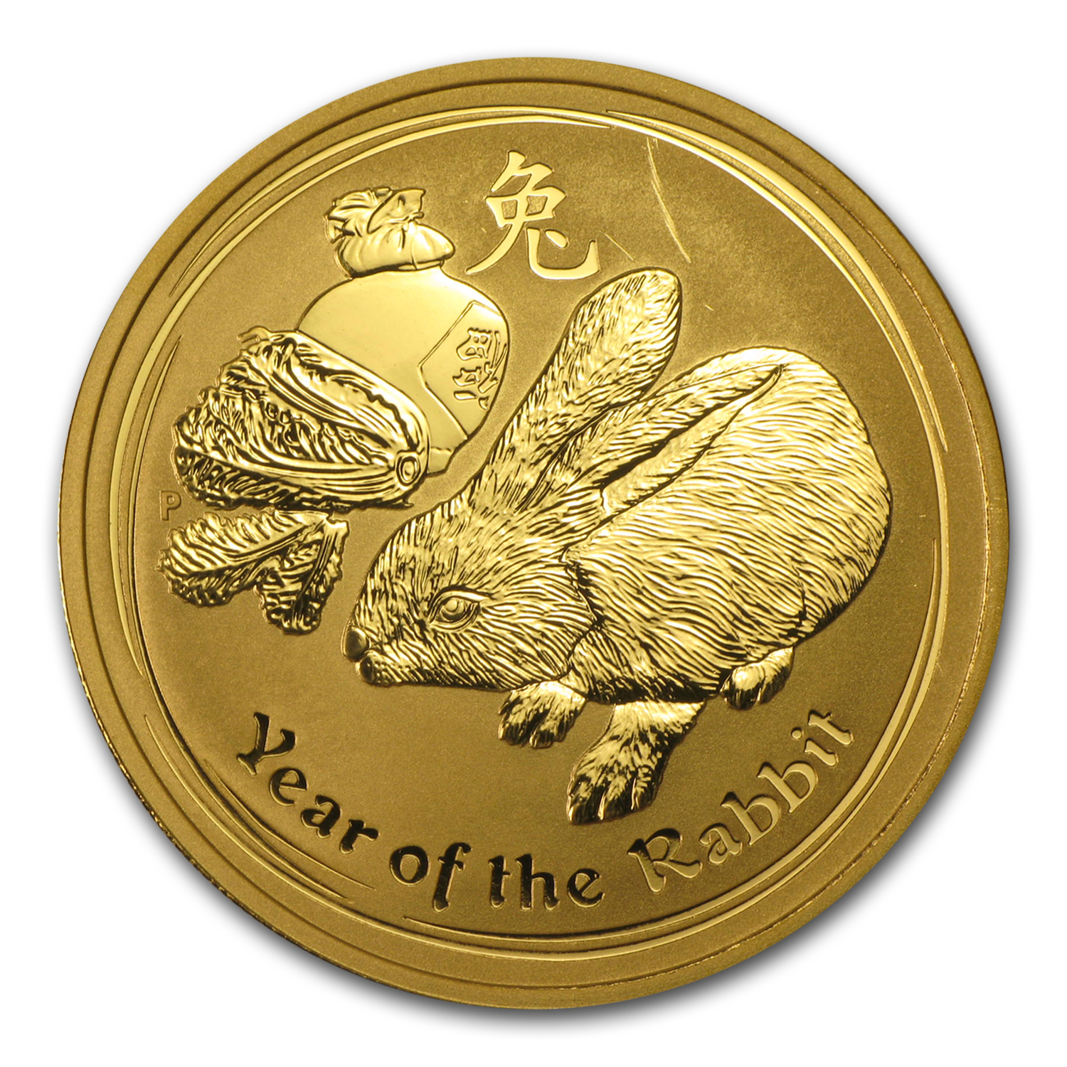 2011 Gold 1 oz Lunar Year of the Rabbit BU (SII, Light Abrasions)