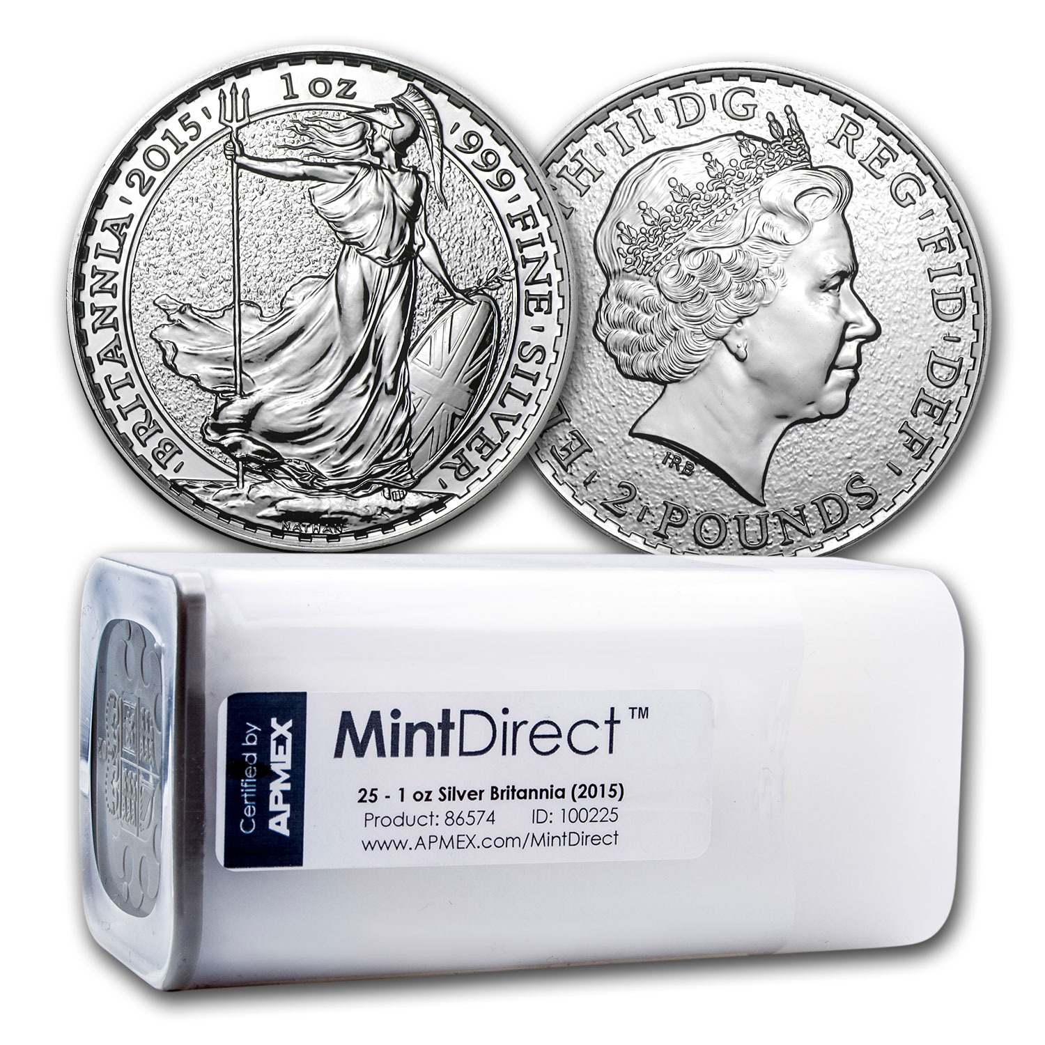 2015 1 oz Silver Britannia (25-Coin MintDirect® Tube)