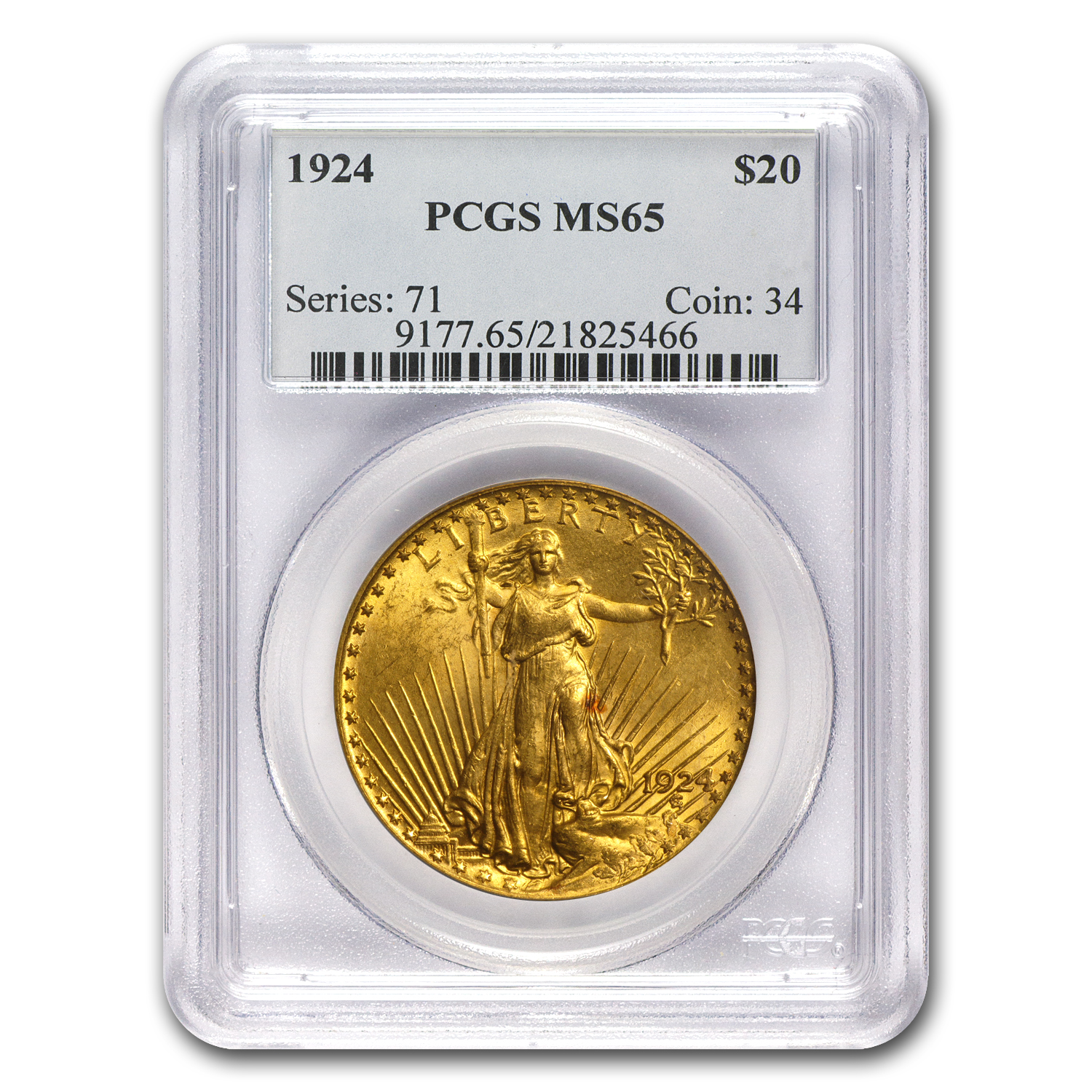 $20 Saint-Gaudens Gold Double Eagle MS-65 PCGS (Spotted)