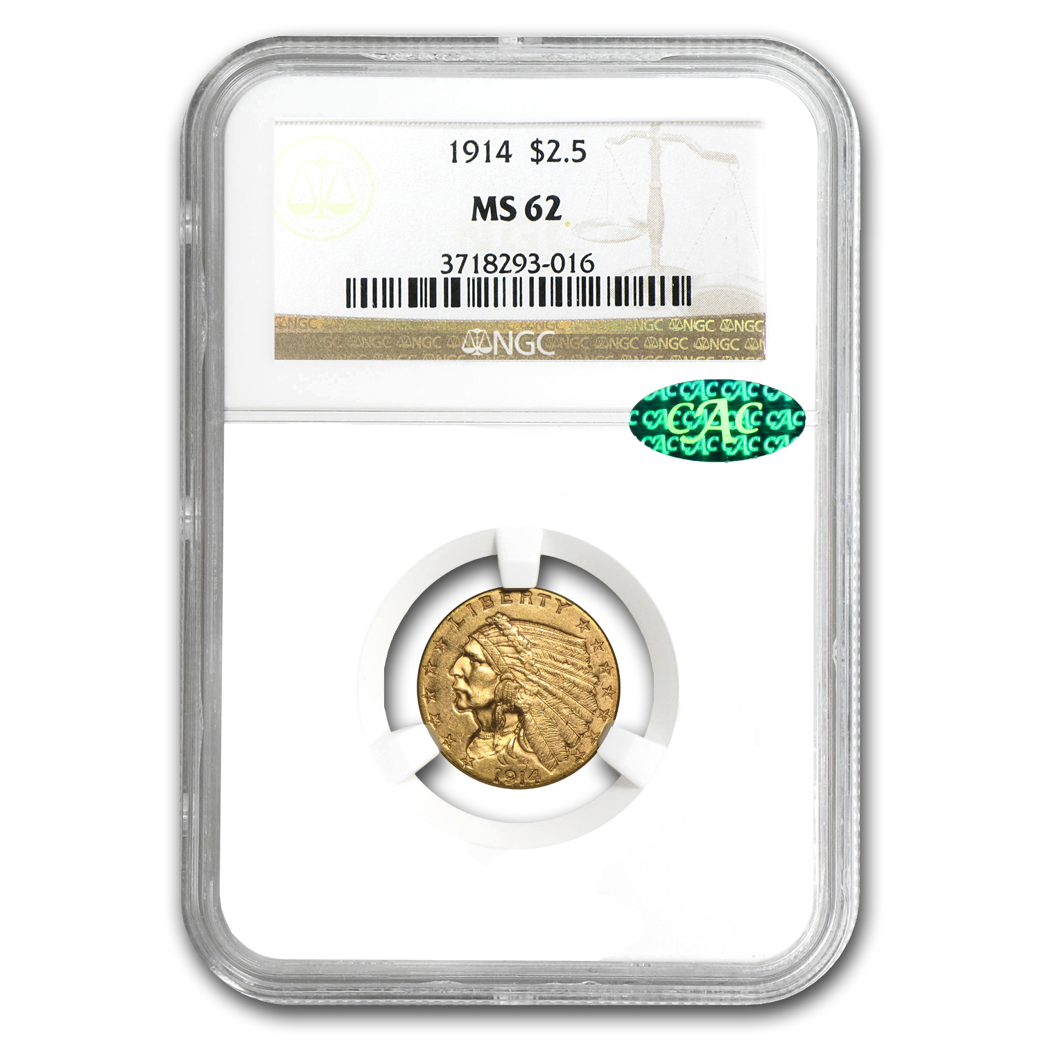 1914 $2.50 Indian Gold Quarter Eagle MS-62 NGC (CAC)