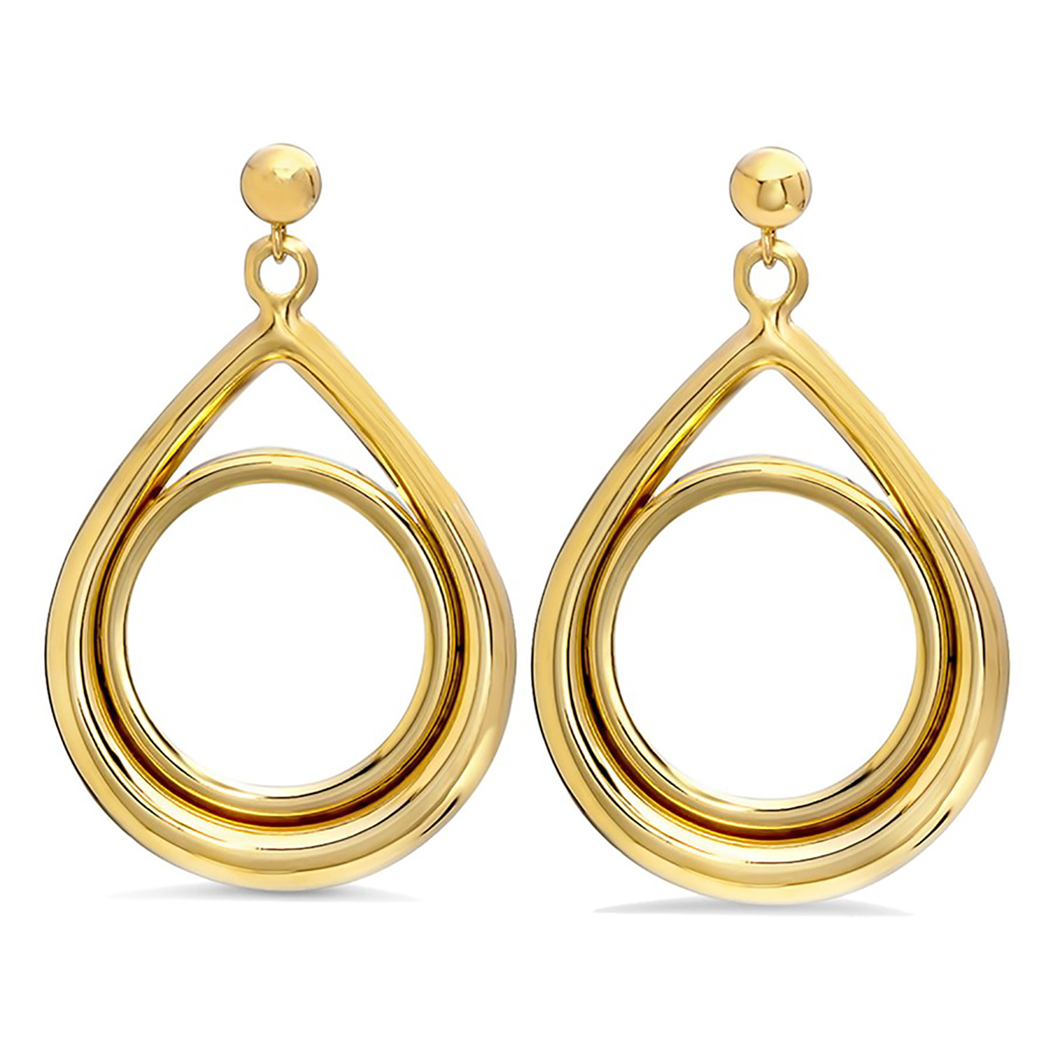 14k Gold Prong Tear Drop Dangle Coin Earrings - 14 mm