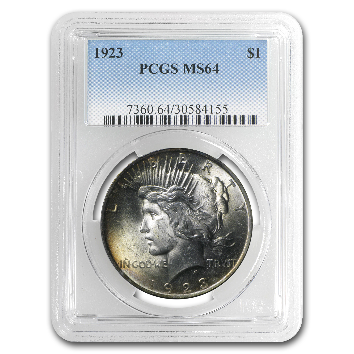 1923 Peace Dollar MS-64 PCGS (Wheat Toning)