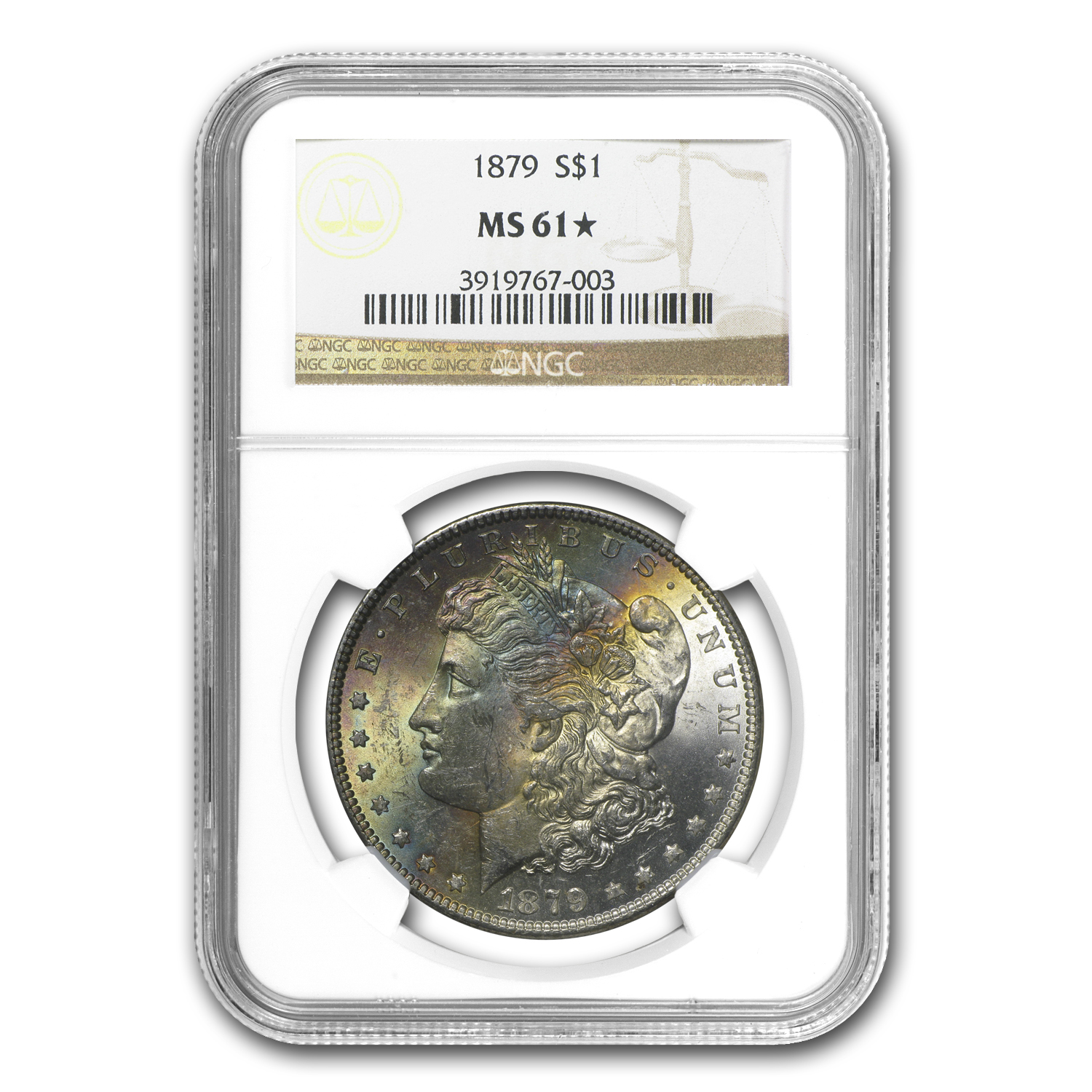 1879 Morgan Dollar MS-61* NGC (Rainbow Toning)