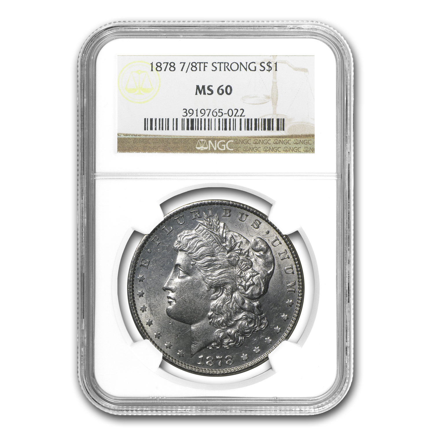 1878 Morgan Dollar 7/8 TF MS-60 NGC (Strong)