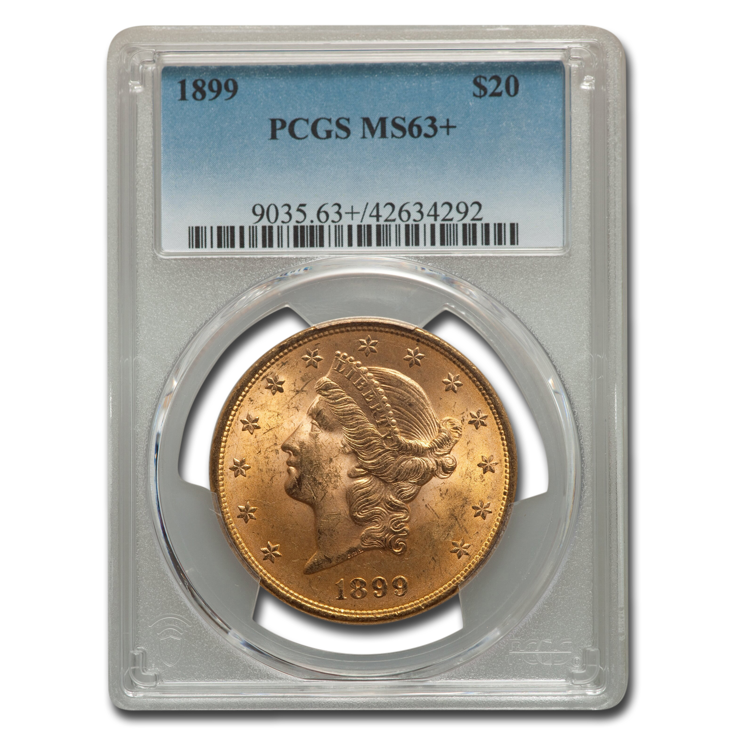 1899 $20 Liberty Gold Double Eagle MS-63+ PCGS