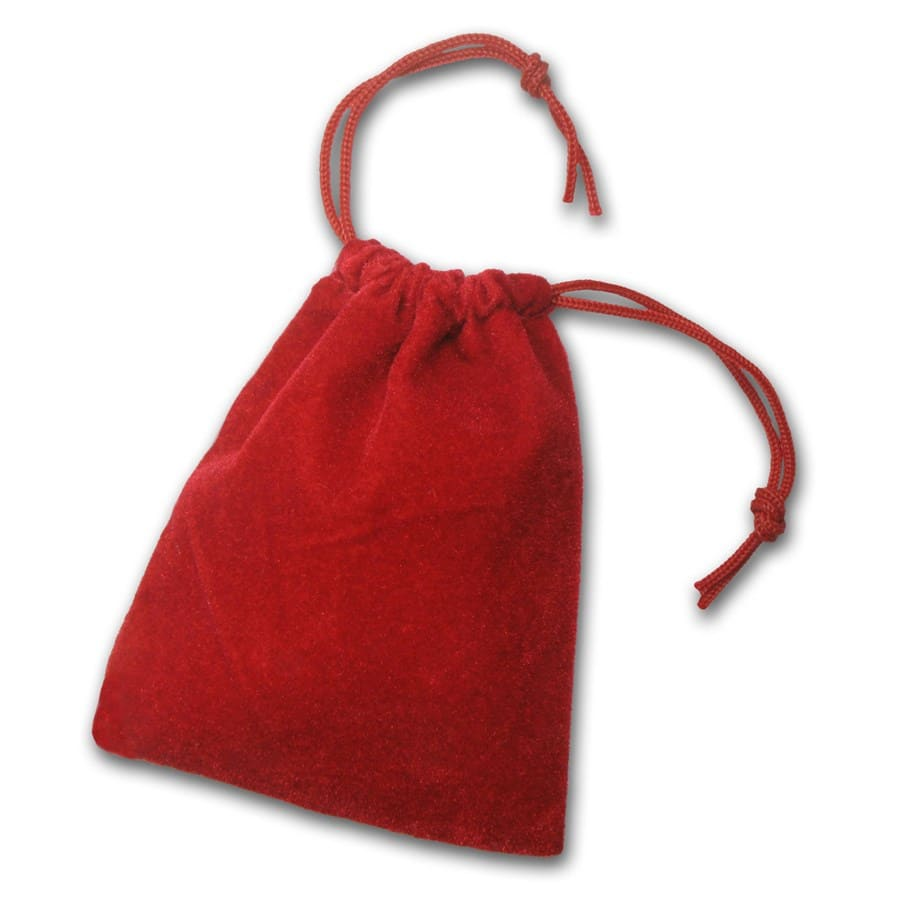 3 x 4 Velour Draw String Pouch (Red)