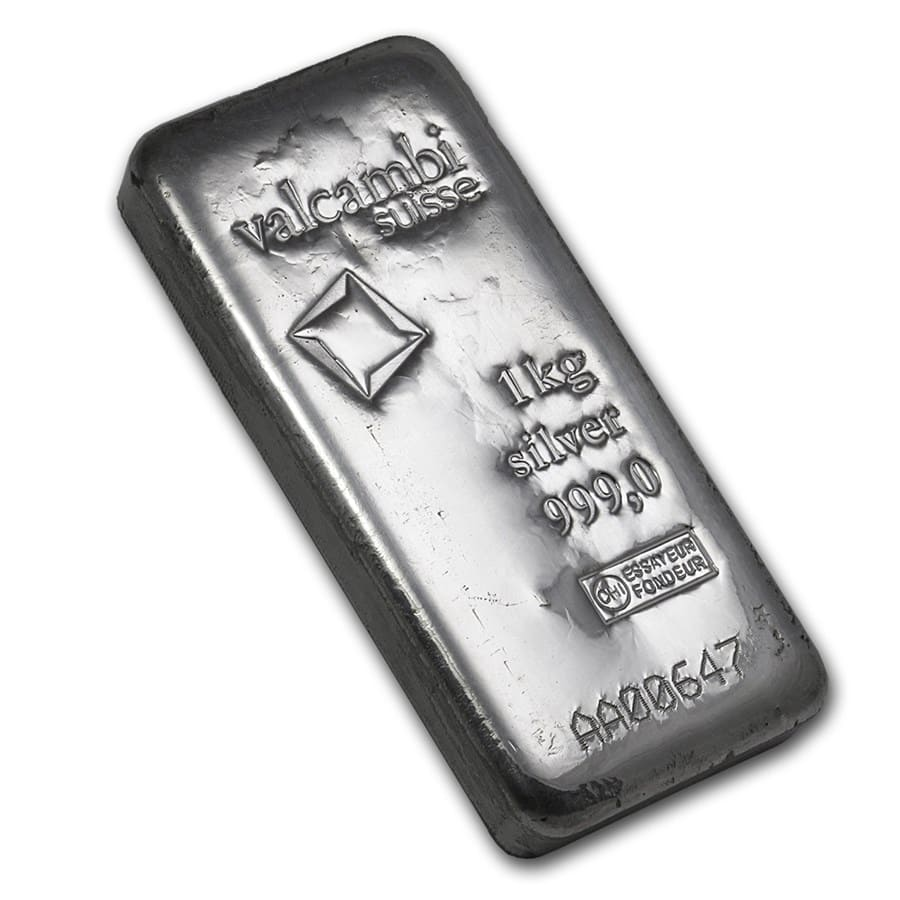 1 kilo Silver Bar - Valcambi (Cast, w/Assay)