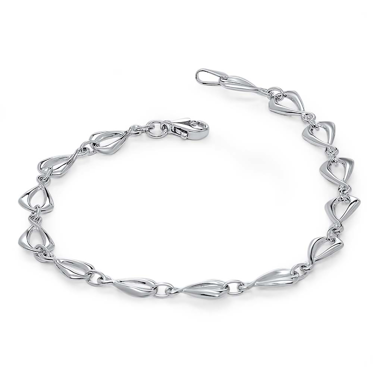 14k White Gold Polished Link Bracelet