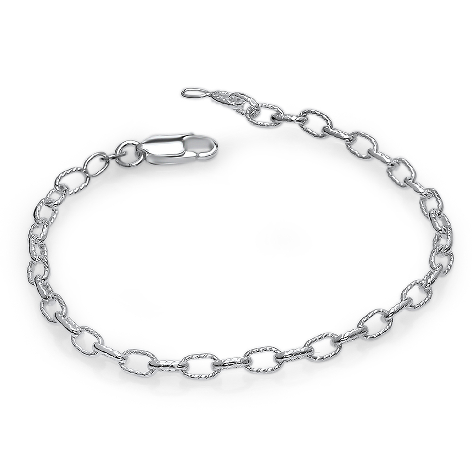"Sterling Silver Fancy Rolo Chain 7"" Bracelet"