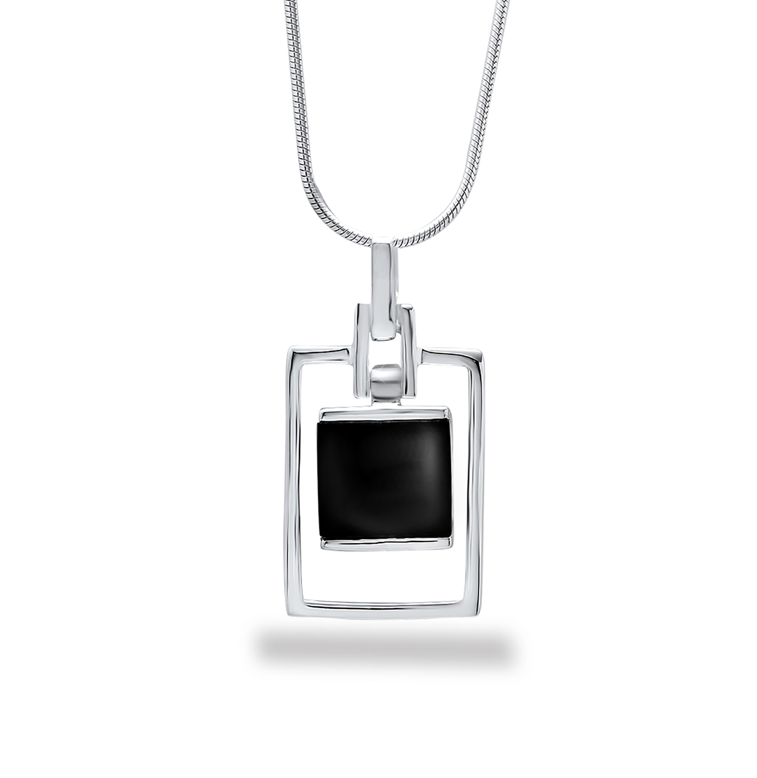"Sterling Silver 16"" Onyx Pendant Necklace"