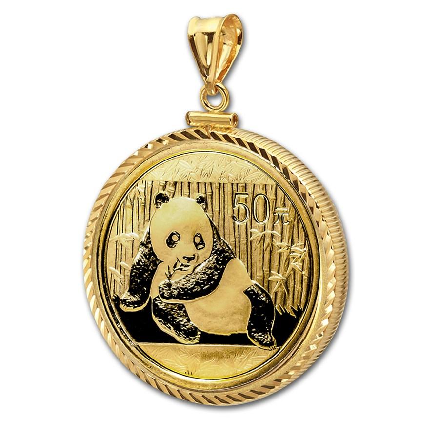 2015 1 10 Oz Gold Panda Pendant Diamond Screwtop Bezel