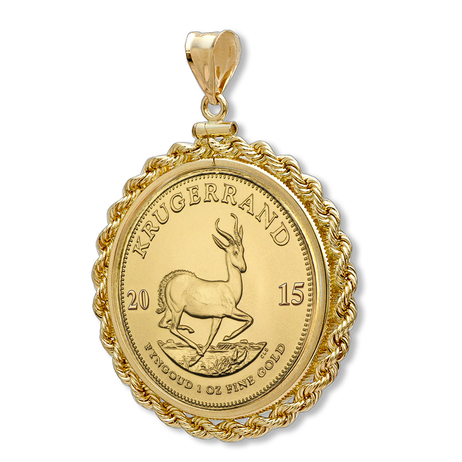 2015 1 oz Gold Krugerrand Pendant (Rope-ScrewTop Bezel)