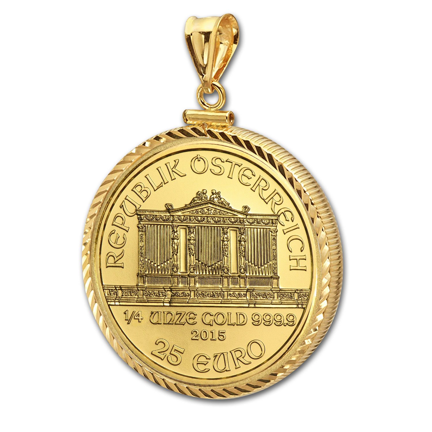 2015 1/4 oz Gold Philharmonic Pendant (Diamond-ScrewTop Bezel)