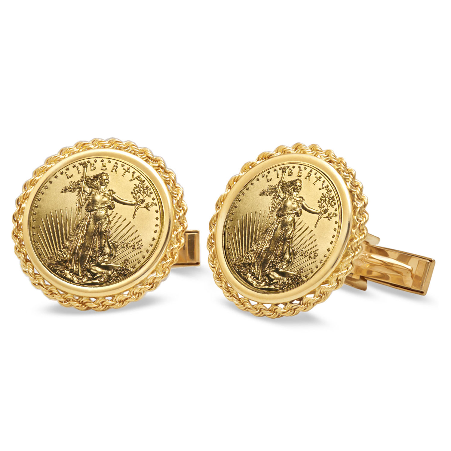 2015 1/10-oz Gold Eagle Cuff Links (Polished Rope)