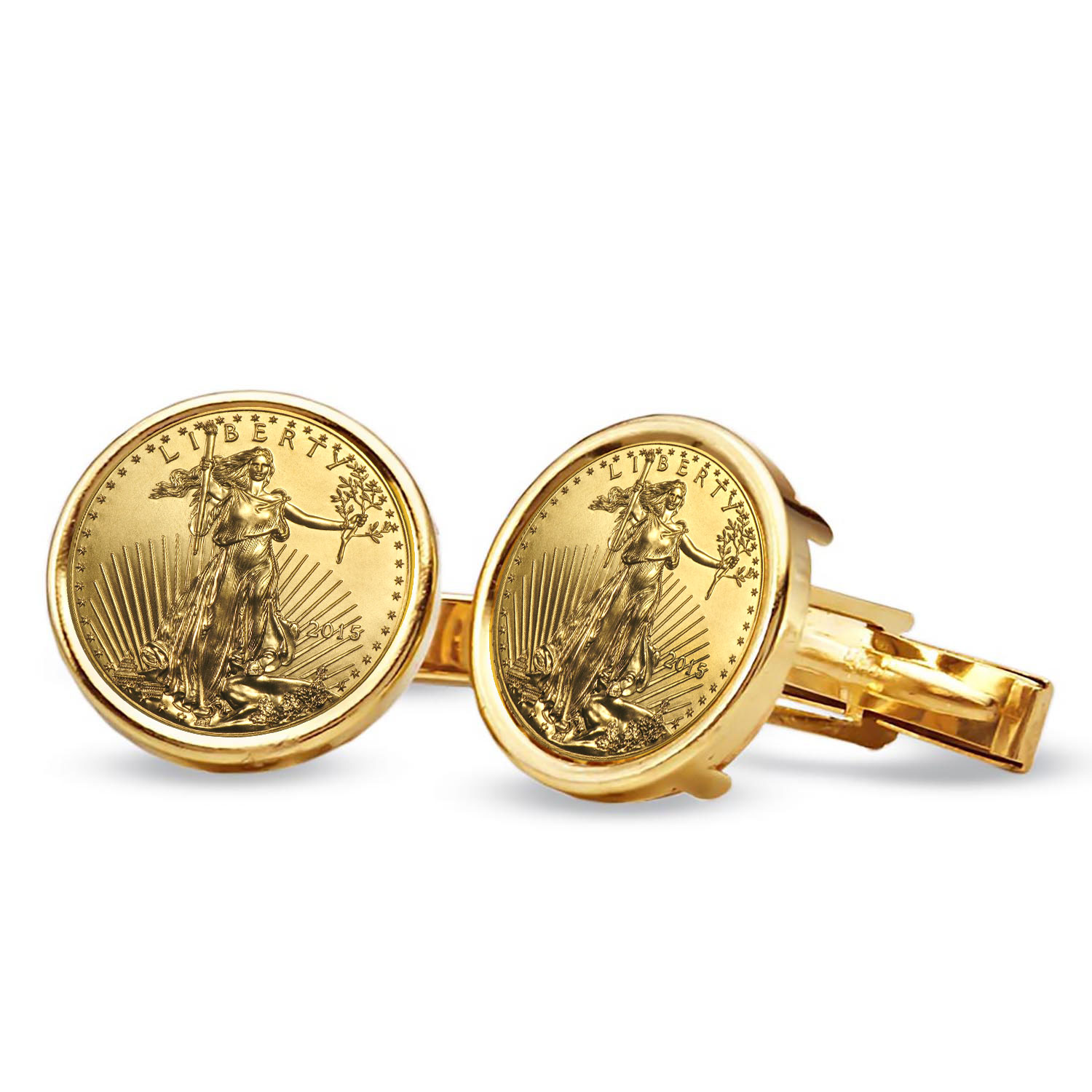 2015 1/10-oz Gold Eagle Cuff Links (Polished Plain)