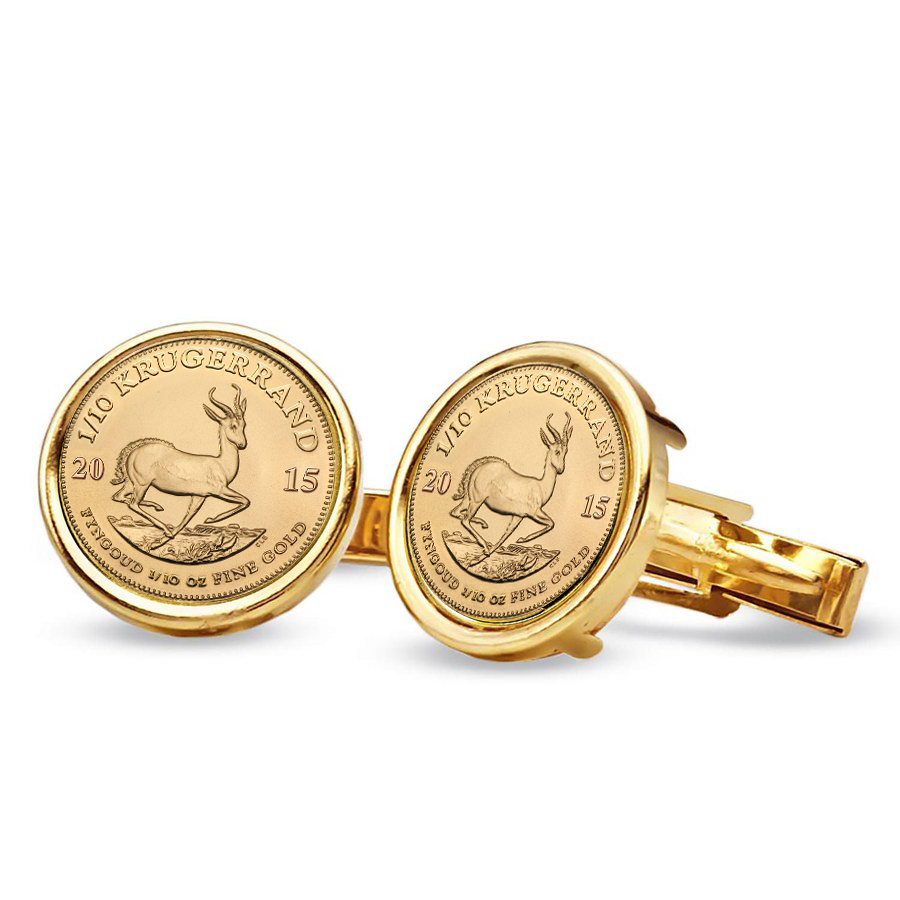 2015 1/10 oz Gold Krugerrands Cuff Links (Polished Plain)