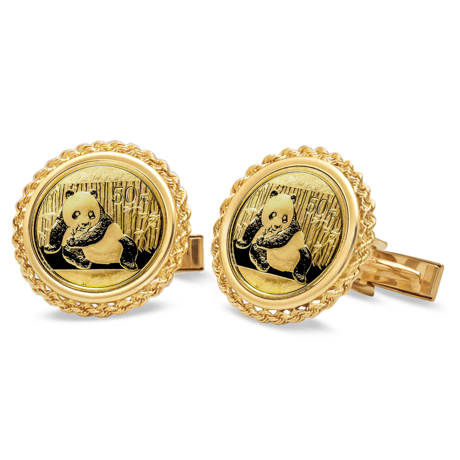 2015 1/10 oz Gold Panda Cuff Links (Polished Rope)