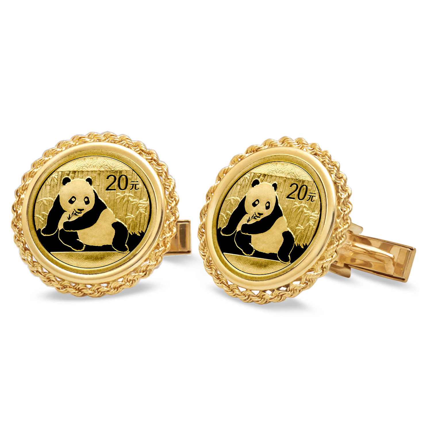 2015 1/20 oz Gold Panda Cuff Links (Polished Rope)