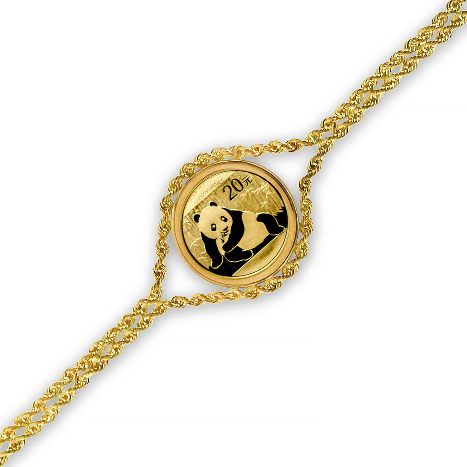 2015 1/20 oz Gold Panda Bracelet (Polished Rope)