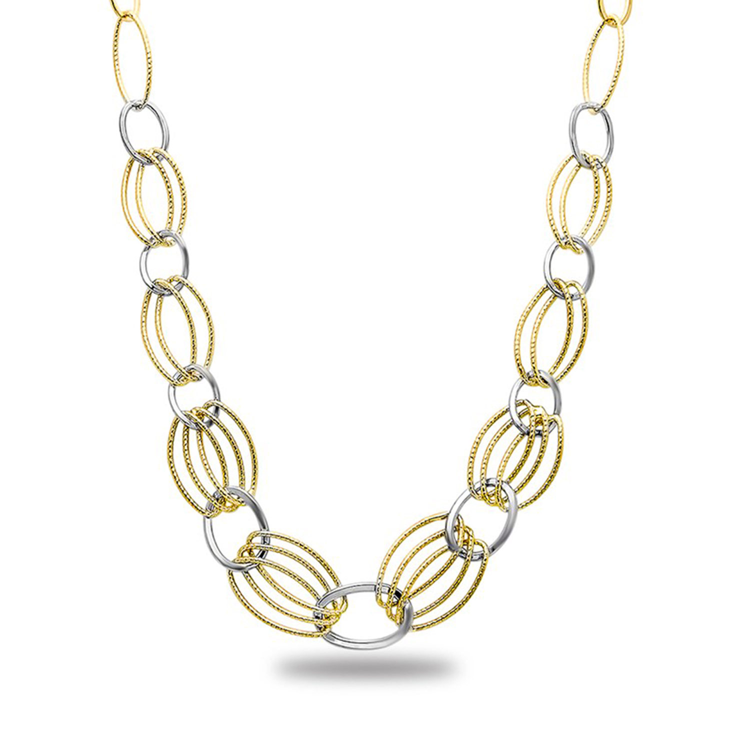 Sterling Silver & 18k Gold-Tone Plated Link Necklace
