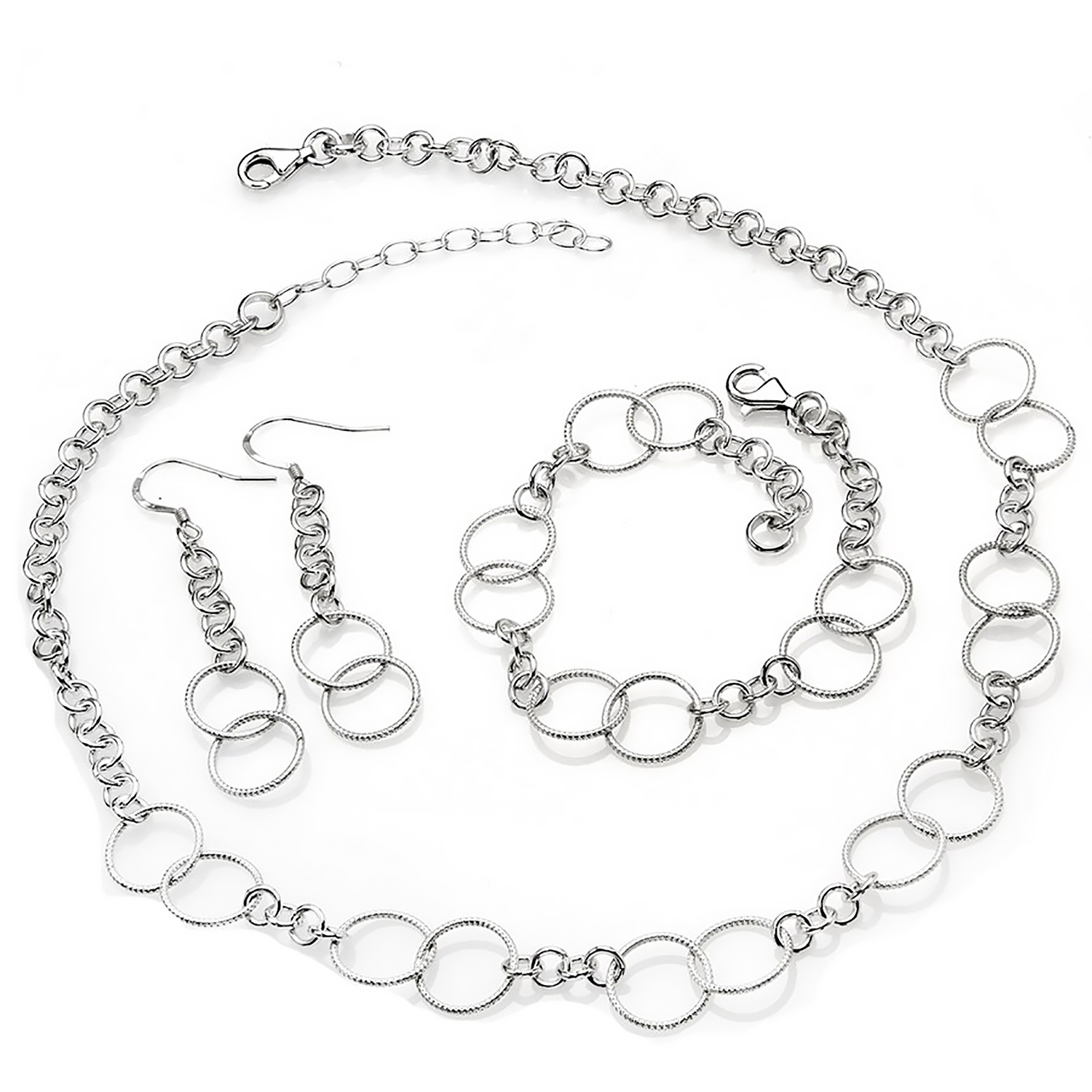 Sterling Silver Necklace, Bracelet & Earring Set