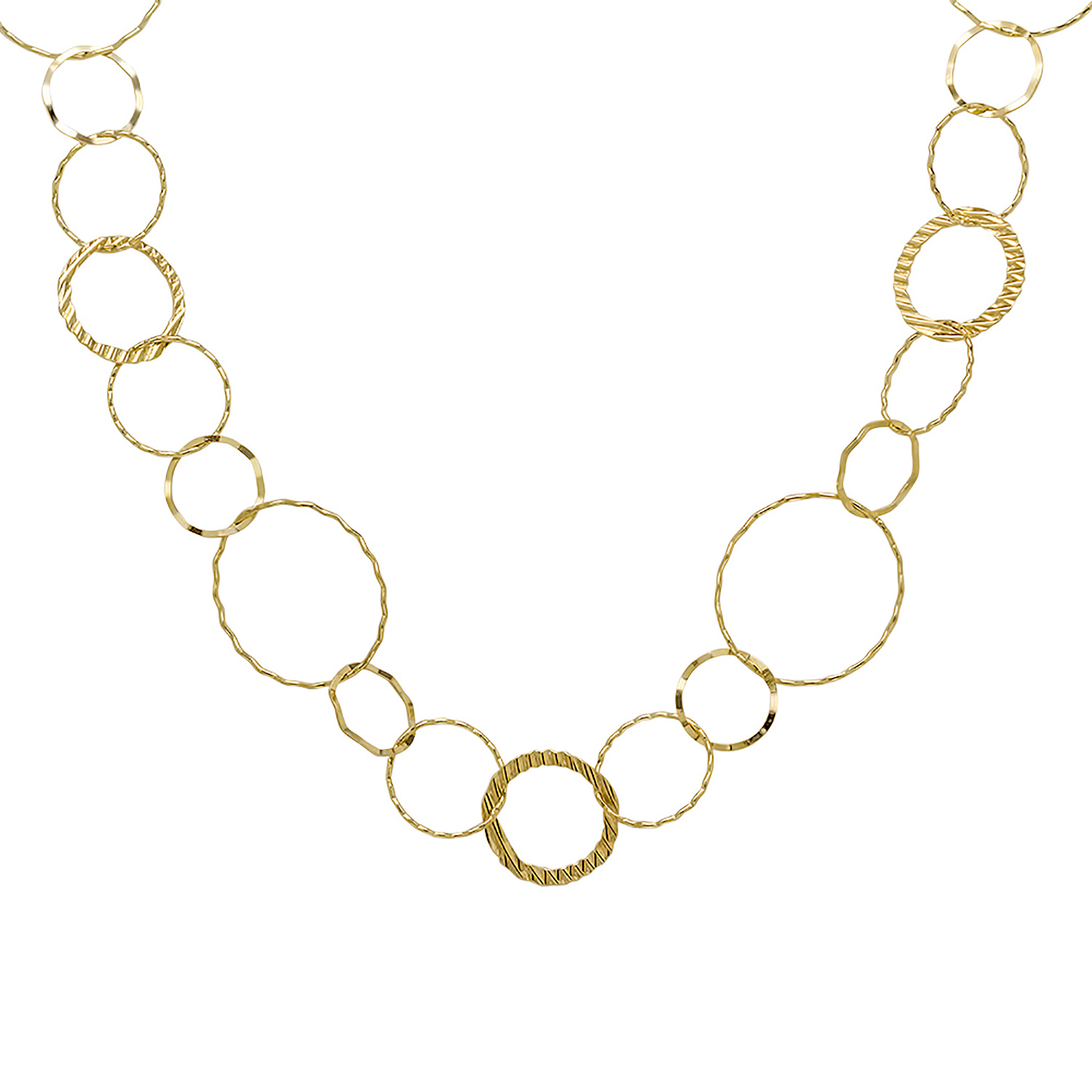 14k Gold Combo Circle Necklace