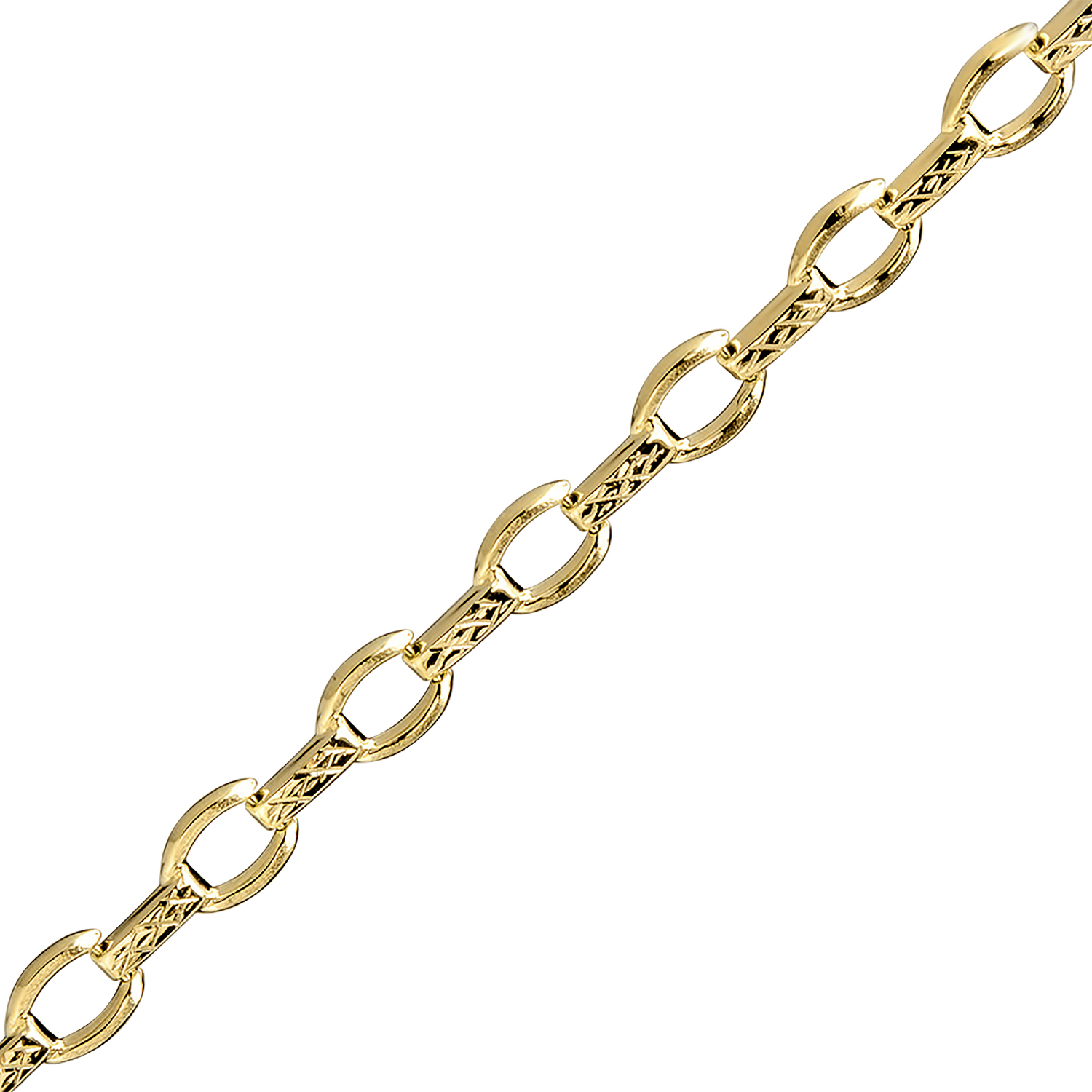 14k Gold Diamond-Cut Fancy Link Bracelet