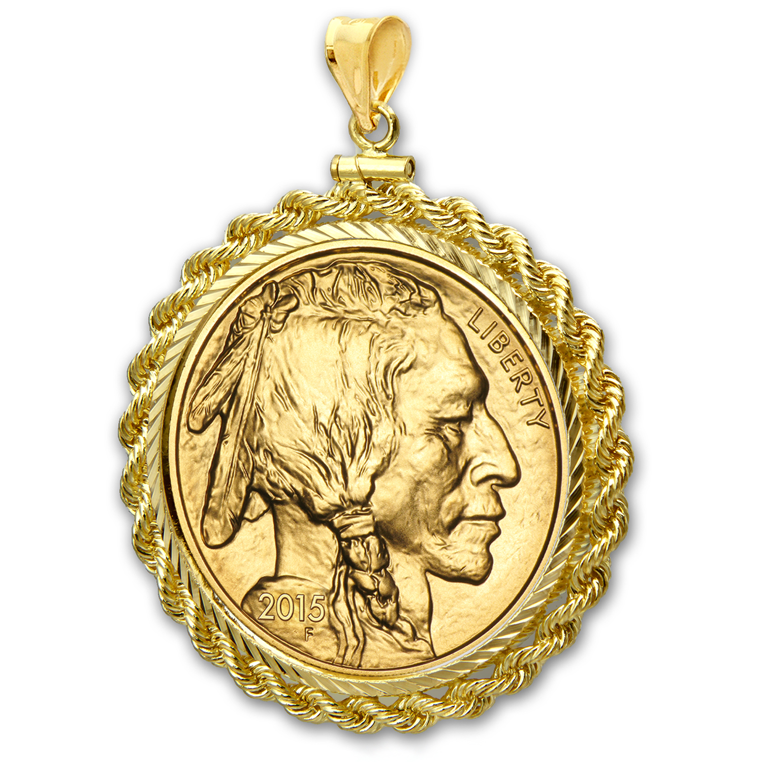 2015 1 oz Gold Buffalo Pendant (Rope-Diamond Cut Screw-top Bezel)