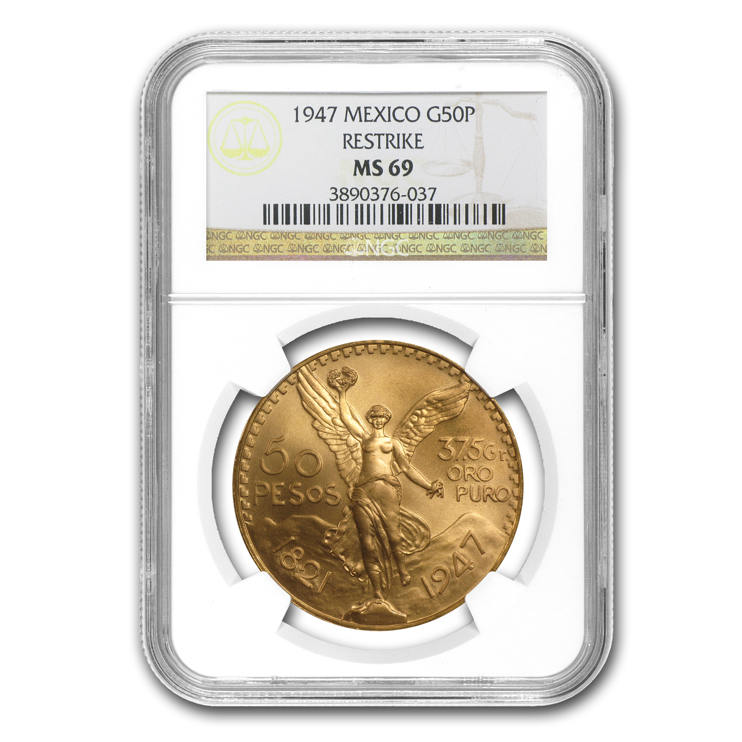 1947 Mexico Gold 50 Pesos MS-69 NGC (Restrike)
