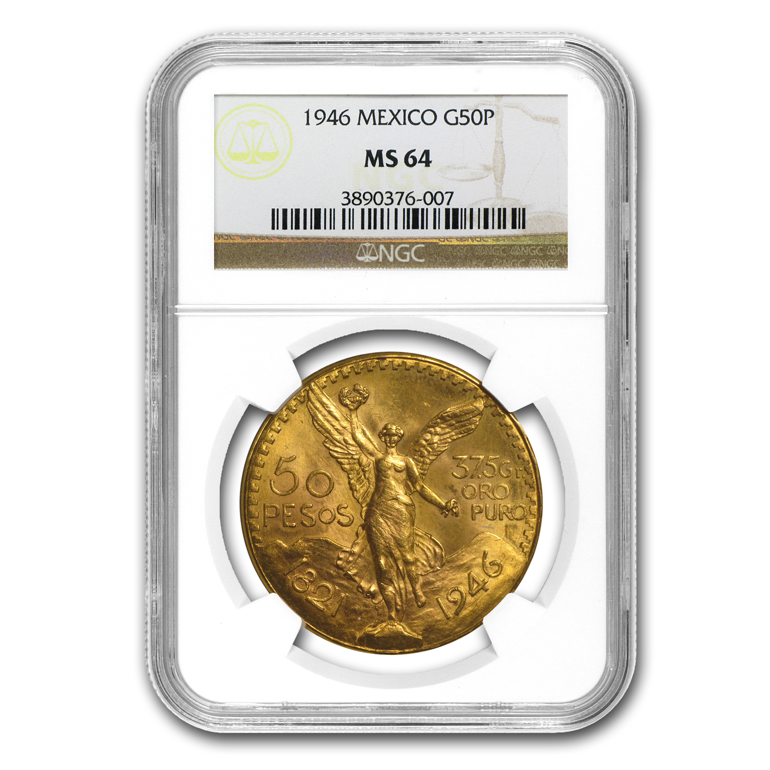 1946 Mexico Gold 50 Pesos MS-64 NGC
