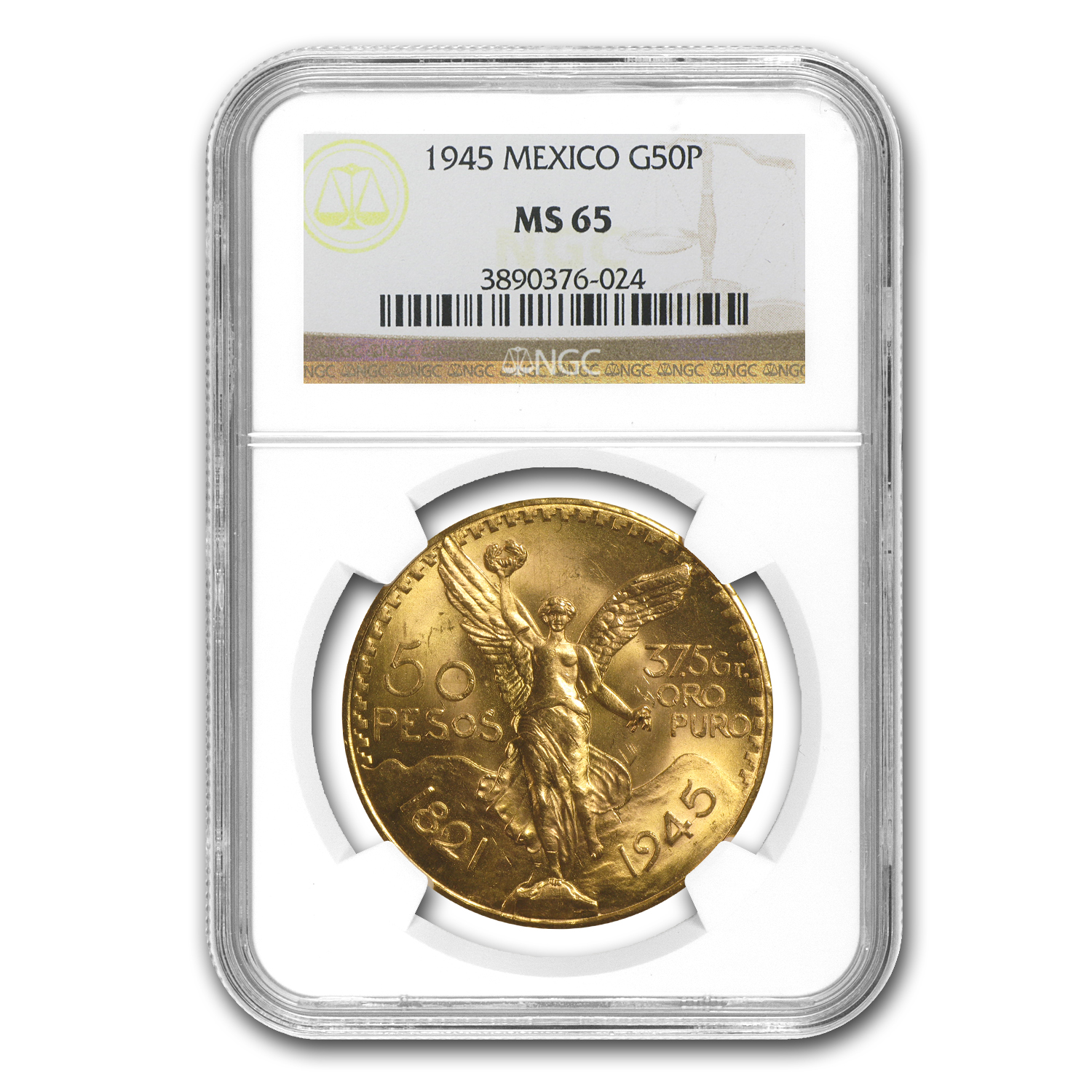 1945 Mexico Gold 50 Pesos MS-65 NGC