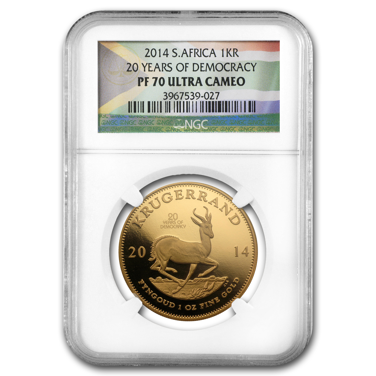 2014 South Africa 1 oz Gold Krugerrand PF-70 NGC (Democracy)