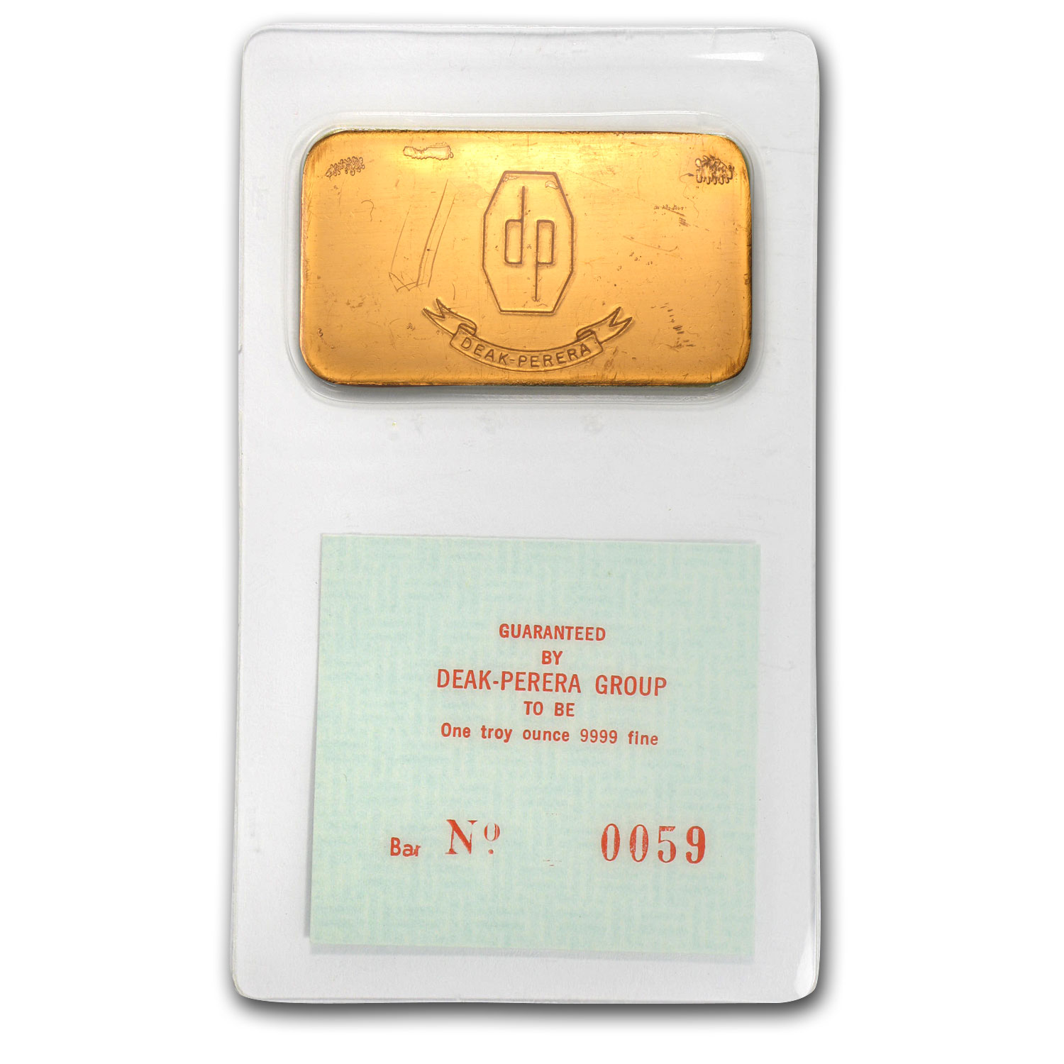 1 oz Gold Bar - Deak-Perera (Serial #0059, In Assay)