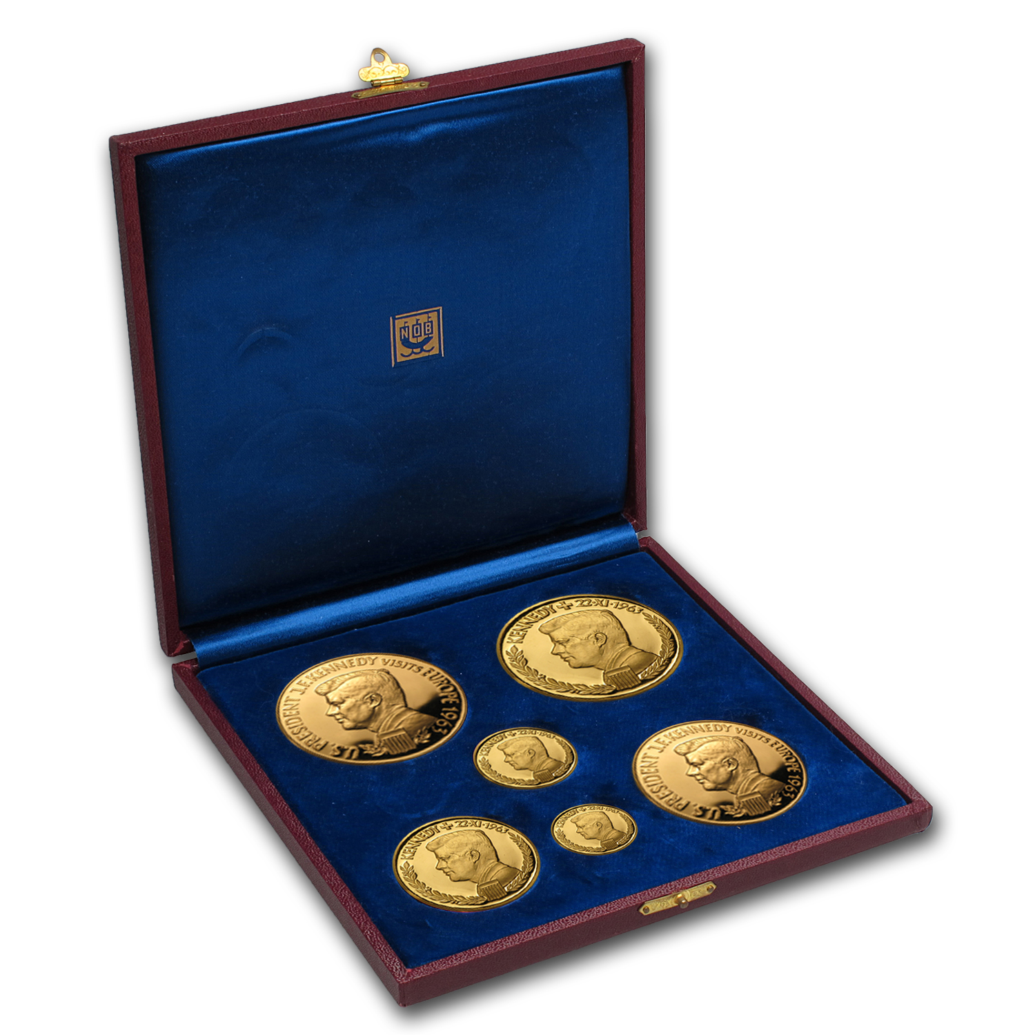 1963 Germany 6-Coin Gold JFK Medallic Set