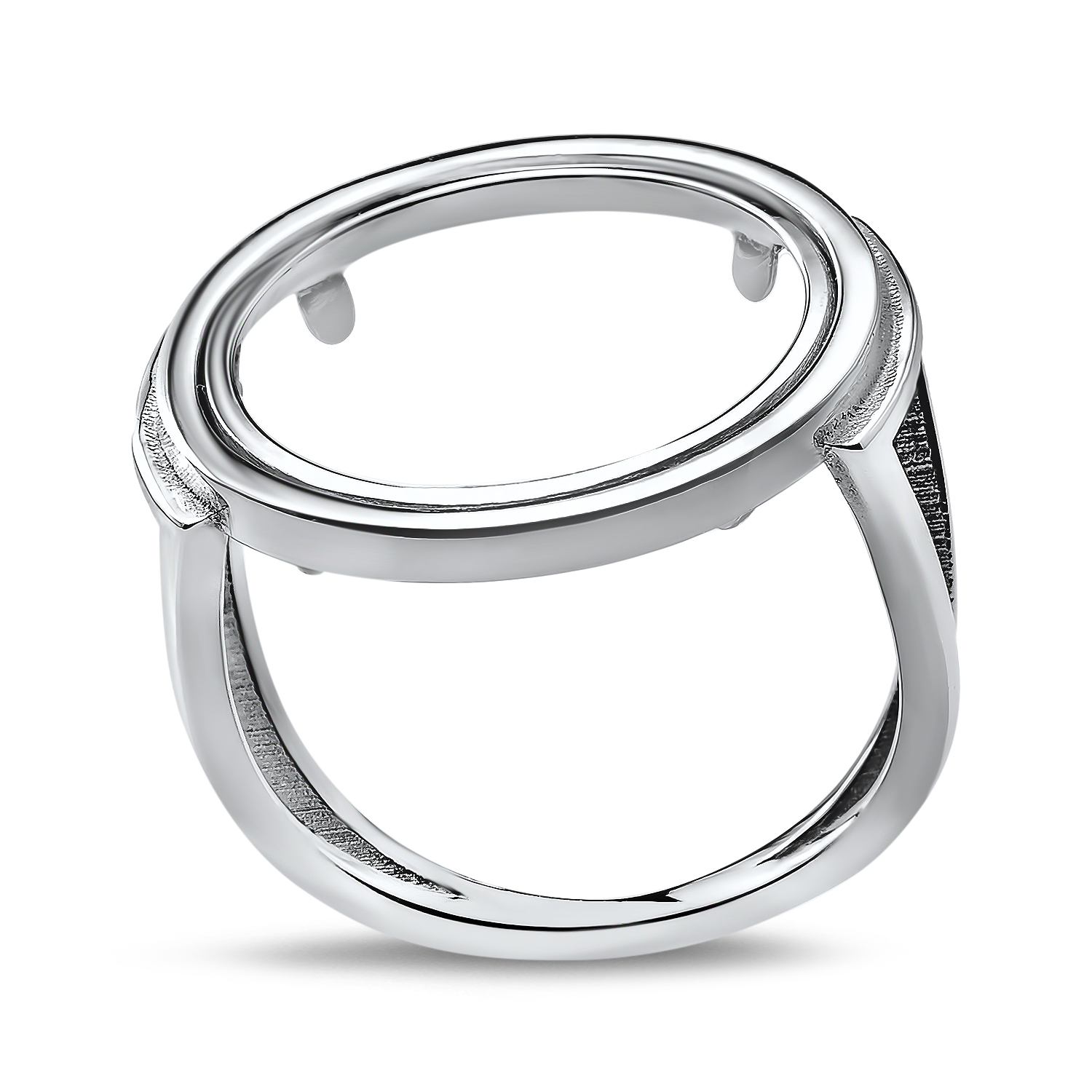 14k White Gold Unique Cut Polished Ring (Prong)