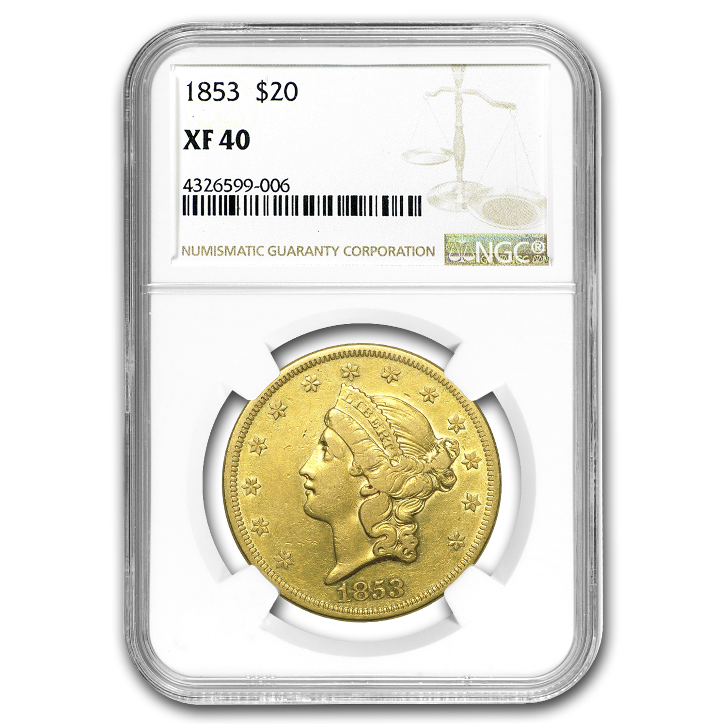 1853 $20 Liberty Gold Double Eagle XF-40 NGC