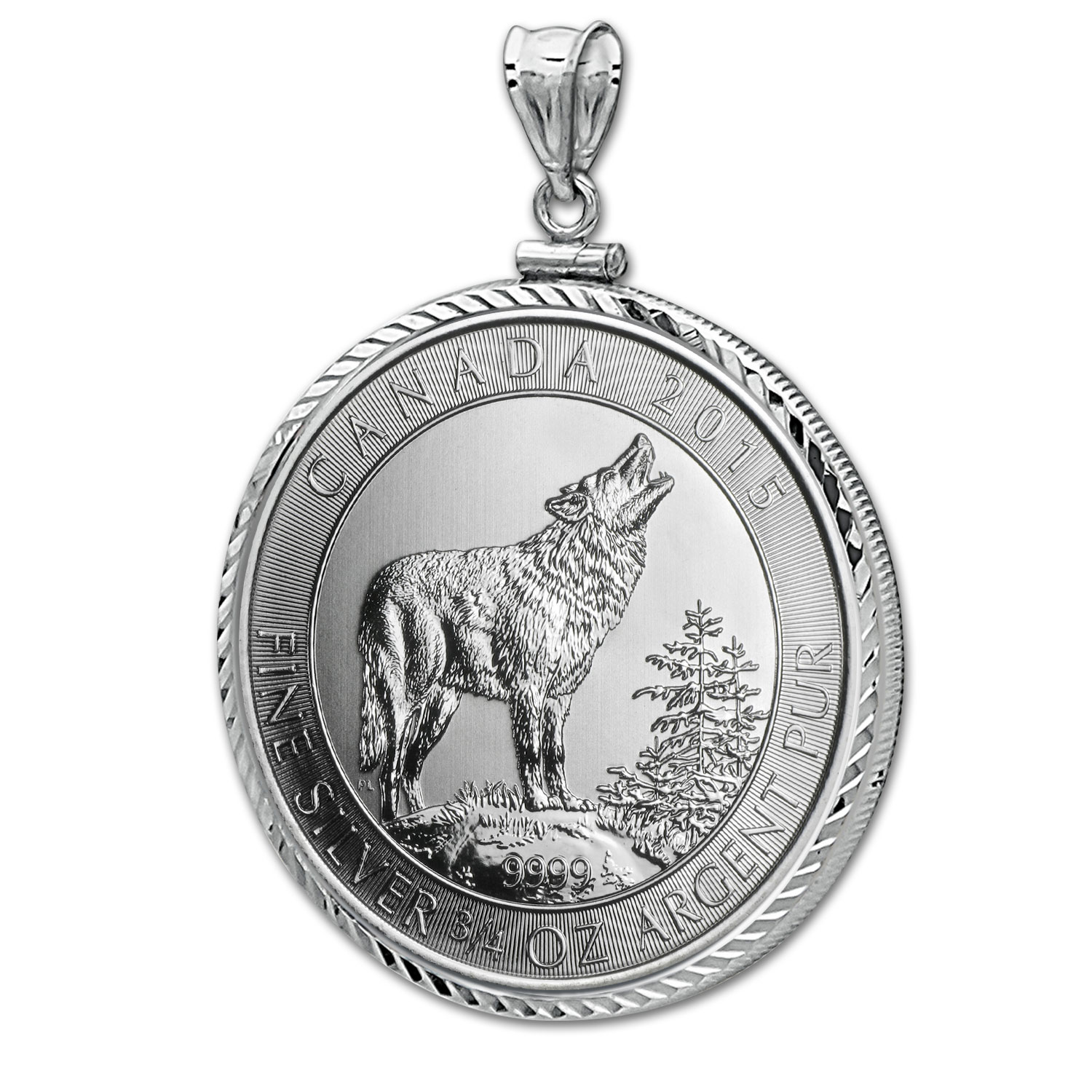 2015 3/4 oz Silver Wolf Pendant (Diamond-ScrewTop Bezel)