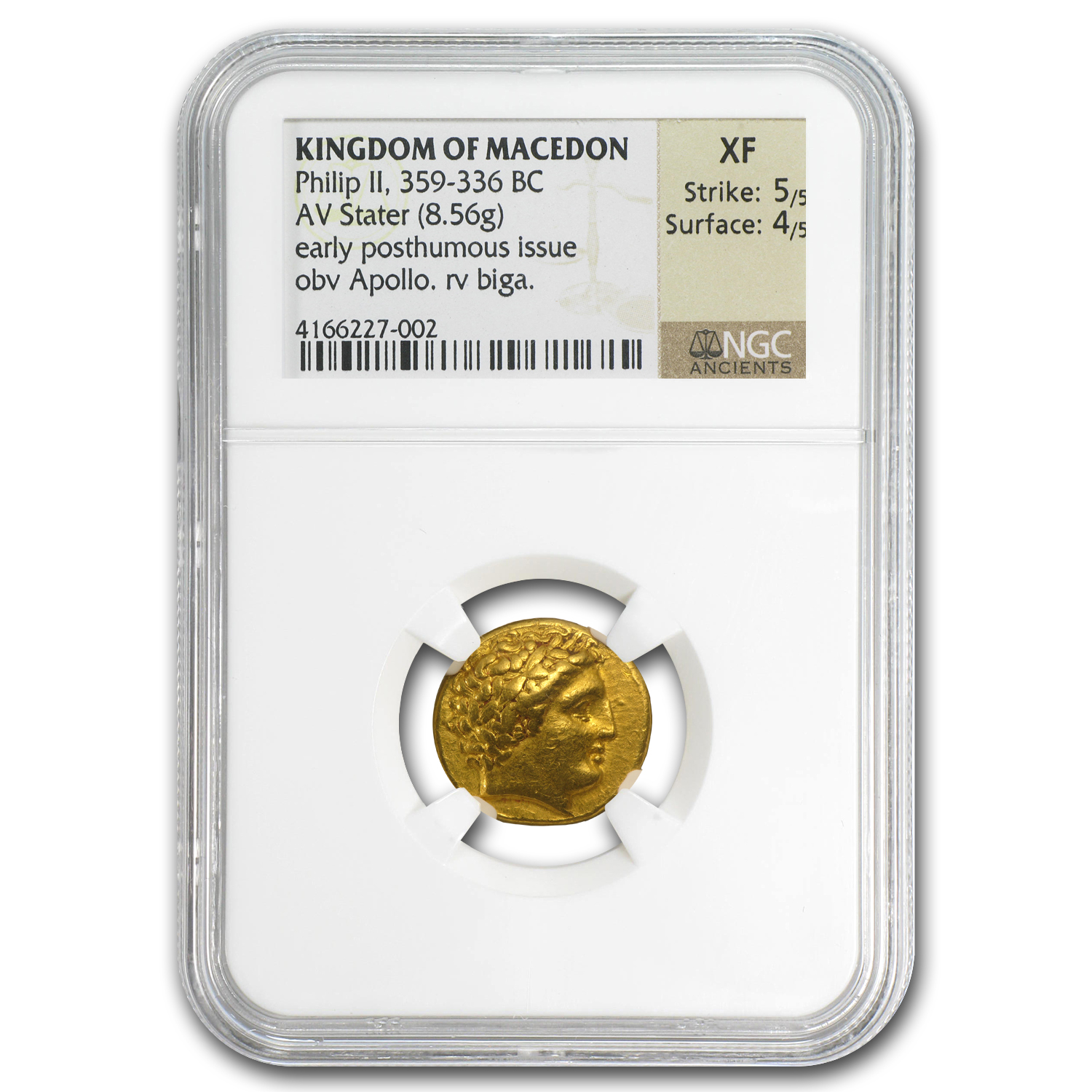 Macedonia Gold Stater of Philip II XF NGC (359-336 BC)