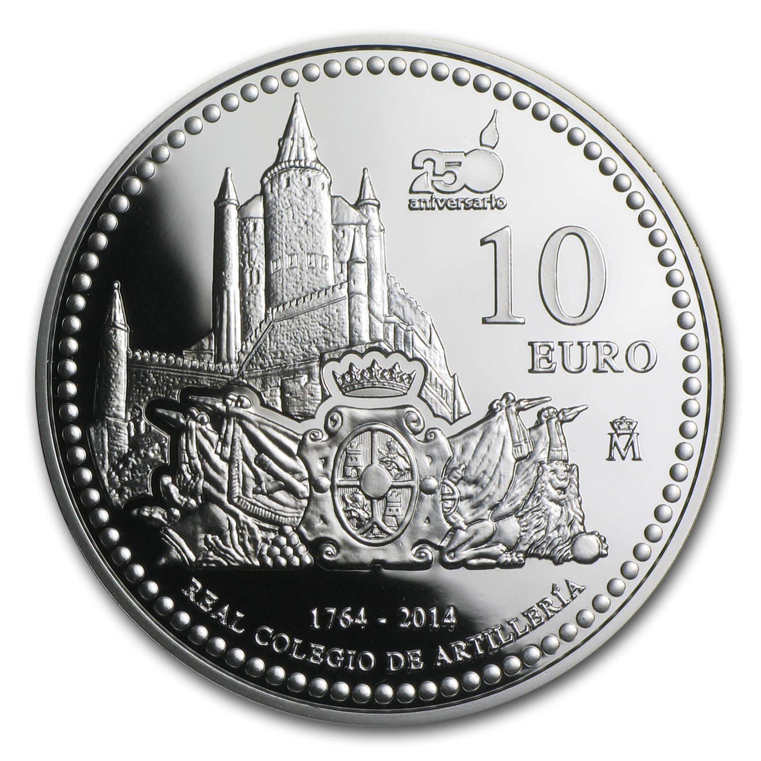2014 Proof Silver €10 250th Anniv of Royal School of Artillery