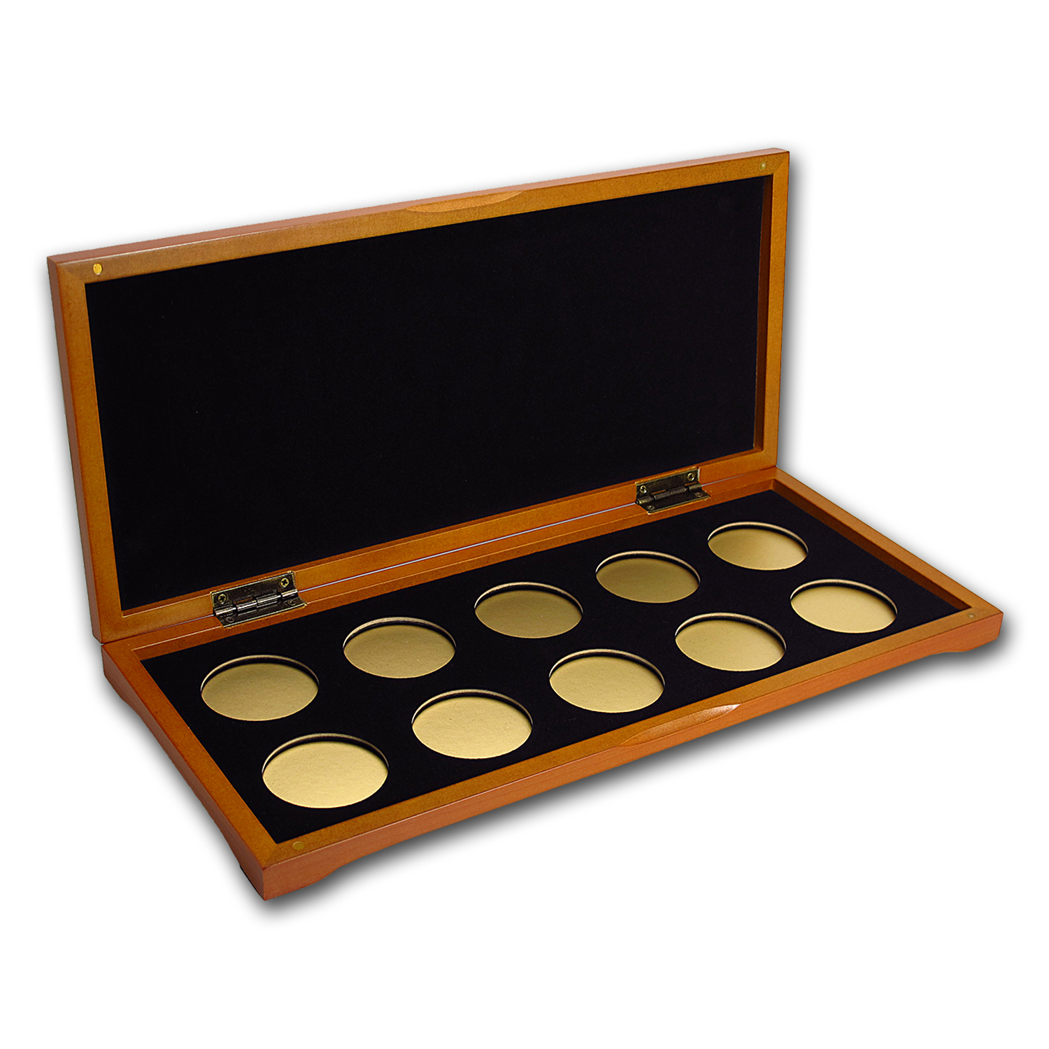10 coin Wood Presentation Box (Gold)