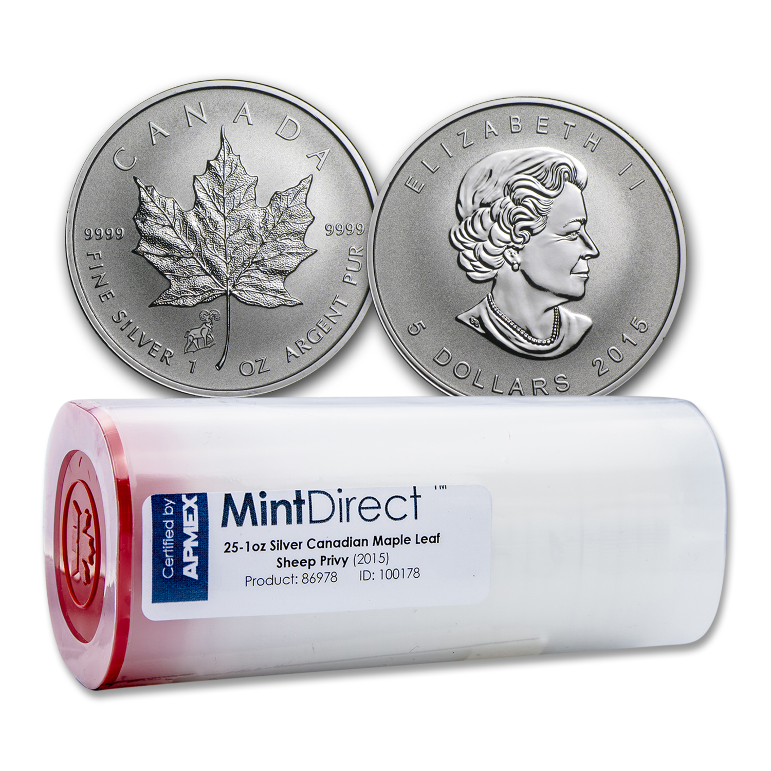 2015 Silver Maple Leaf Sheep Privy (25-Coin MintDirect® Tube)