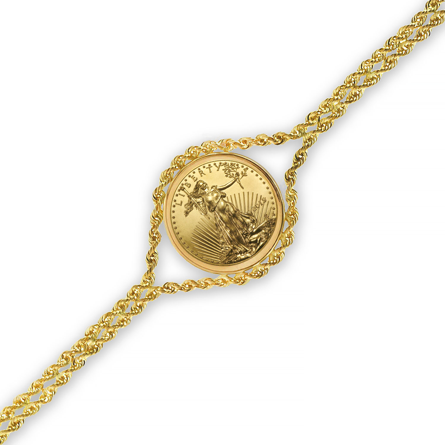 2015 1/10 oz Gold Eagle Bracelet (Polished Rope)